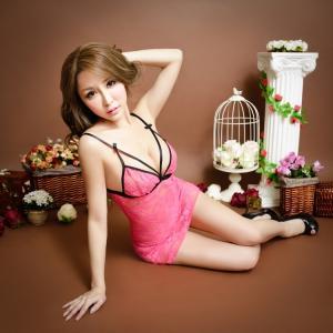高档蕾丝灰色女式睡裙吊带性感情趣内衣(货号:E5005)