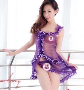 透明长裙睡衣制服 含丁字裤(货号:E5002)