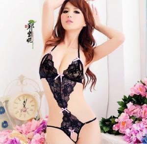 性感大码制服诱惑蕾丝露真人开裆露乳套装(货号:E4002)