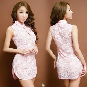 蕾丝玫瑰透明旗袍(货号:E5014)