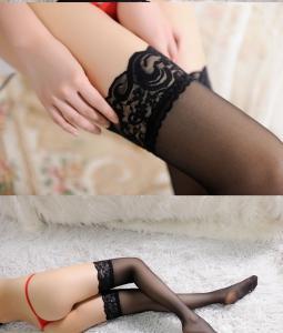 蕾丝边超薄长筒袜 透明极度诱惑高筒袜(货号:E2015)