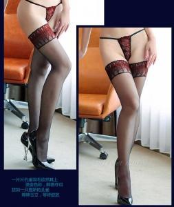 12D花边无硅胶孔雀花边长筒袜(货号:E2018)