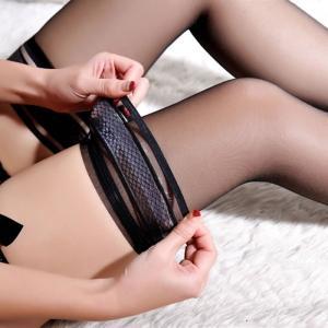 性感透明提花大腿袜 长筒丝袜 带硅胶防滑(货号:E2021)